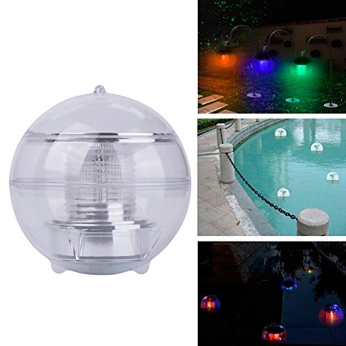 CyberDyer Solar Powered Waterproof Floating LED Color Changing Wedding Party Decor Lights (Floating Solar Fountain)