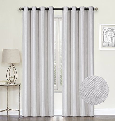 HCILY White Linen Blackout Curtains Thermal Insulated Grommet Room Darkening Window Treatment 2 Panels Bedroom (White, W52'' x L96'')