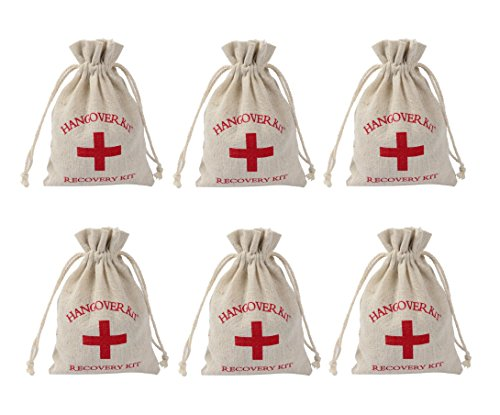 Gourmet Backpack Kitchen (Astra Gourmet 24pcs Hangover Kit Bags, Recovery Kit Survival Kit, First Aid Favor Bachelorette Bags, Red Cross Cotton & Muslin Bags,Wedding Welcome Bags,Off-White(4
