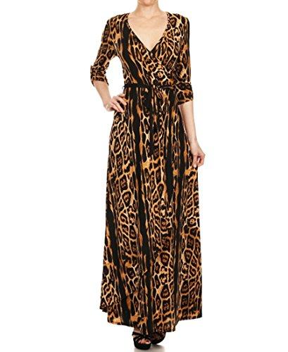 Zoozie LA Women's Maxi Dress with Belt Tie and Mock Wrap