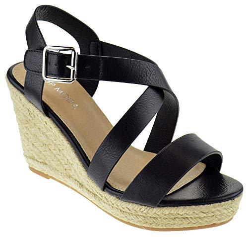 (Top Moda Frankela 3 Womens Open Toe Strappy Slingback Espadrille Wedge Platform Dress Sandals Black 10)