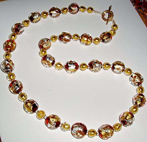 Breathtaking Yellow and White Gold and Red Murano Glass Necklace ()