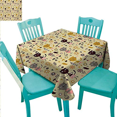 Proof Squirrel Flowers (Cat Square Polyester Tablecloth Feline Animals Holding Fish and Flowers in Childish Forest with Mushroom and Squirrels Waterproof/Oil-Proof/Spill-Proof Tabletop Protector 54