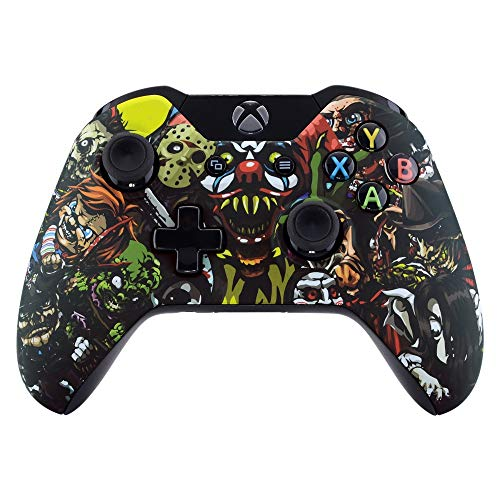 eXtremeRate Scare Party Soft Touch Faceplate Front Housing Shell Upper Case Top Cover Replacement Parts Mod Kits for Standard Xbox One Controller with and Without 3.5 mm Jack