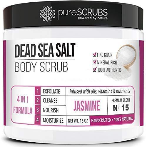 Premium Organic Body Scrub Set - Large 16oz JASMINE BODY SCRUB - Pure Dead Sea Salt Infused With Organic Essential Oils & Nutrients + FREE Wooden Spoon, Loofah & Mini Organic Exfoliating Bar Soap