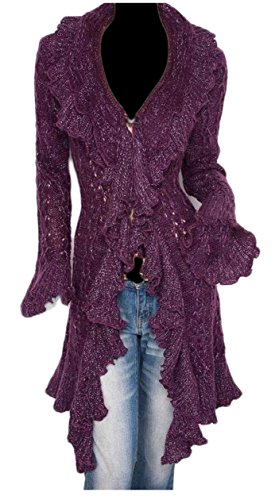 Wool Cardigan Lace (ouxiuli Women' Ruffle Lace Long Sleeve Solid Open-Front Wool Cardigan Purple OS)