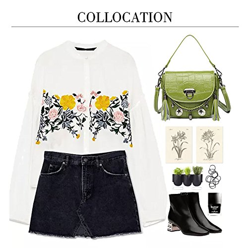 Bags with Cowhide Bags Handbags Pattern Punk Girls for Yoome Crocodile for Mini Style Shoulder Women White Tassel qpwRtA