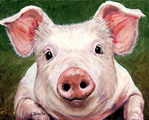 Pig Print - Baby Smiling Pig on green background, Print of Original Painting by Dottie Dracos, Farm Animals, Piglet, Pink Pig, swine, farm animal art, animal art
