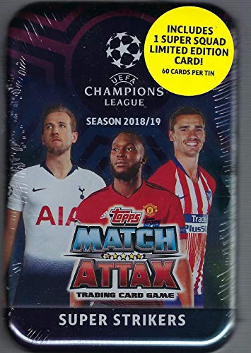 - Topps Match Attax Cards 2018/19 UEFA Champions League Super Strikers - Midi Tin (60 Cards Includes 15 Exclusive Cards + 1 Super Squad Limited Edition Card)