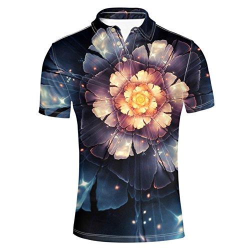 HUGS IDEA Floral Fashion Mens Golf Polos Shirts
