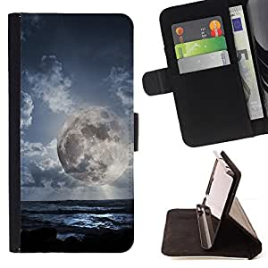 DEVIL CASE - FOR LG OPTIMUS L90 - Alien Planet World Moon Close View Sky Blue - Style PU Leather Case Wallet Flip Stand Flap Closure Cover