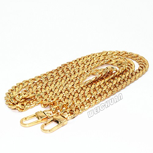 n Flat Chain Strap Handbag Chains Accessories Purse Straps Shoulder Cross Body Replacement Straps, with Metal Buckles (Gold) ()