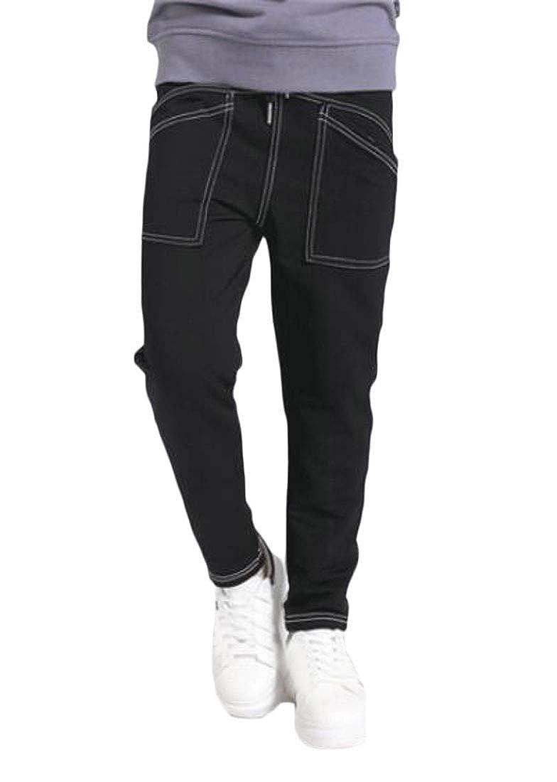 pipigo Boys Comfortable Slim Cute Sport Cotton Solid Color Pants