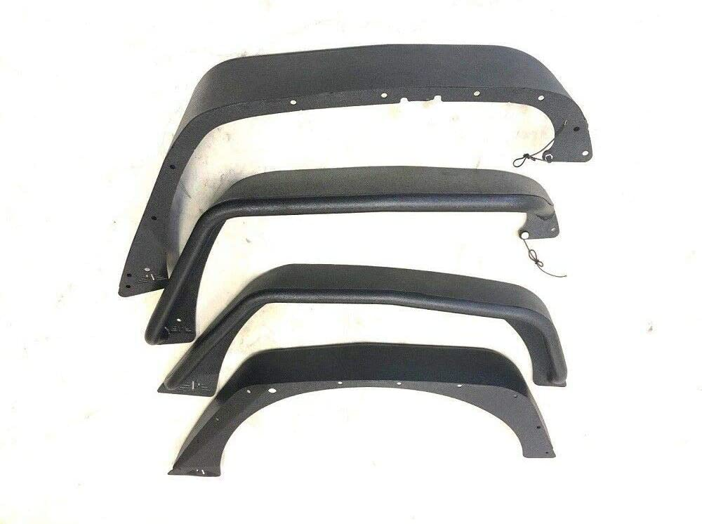 Drilling Required Tuxtured Steel Flat Style Fender Flares for 2007-2018 Jeep Wrangler JK