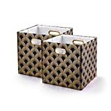 BAIST Collapsible Storage Bins,Nice Heavy Duty Collapsible Fabric Decorative Storage Cubes Basket For Bedroom Office Foldable Square,2 pack,Navy Fan (11×11×11'')