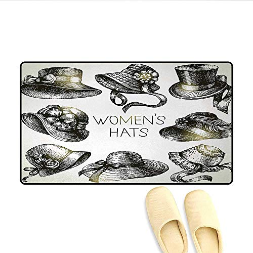 Doormat,Collection of Vintage Woman Hats and Retro Fashion Catalogue Female Old Image Art,Floor Mat Bath Mat for -