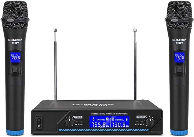G-MARK Micrófono inalámbrico G210V profesional de 2 canales ...