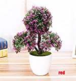 LKXHarleya Artificial Flower Plants Potted Fake Flower Pine Trees Bonsai for Home Office Greenery Decoration