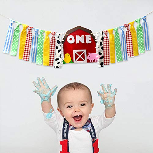 Farm Animals 1st Highchair Birthday Banner Baby Shower Decorations Photo Prop Backdrop Cake Smash Barnyard Gender Neutral Felt Rag Tie Garland