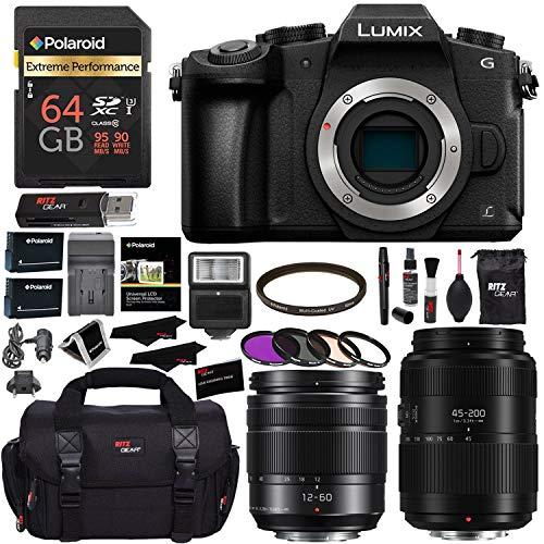 (PANASONIC LUMIX DMC-G85MK G85 4K Mirrorless Camera, 12-60mm Power O.I.S. Lens, G II Vario 45-200mm Lens, Polaroid 64GB, Ritz Gear SLR Camera Bag, Filter Kit, Battery, Charger and Accessory Bundle)