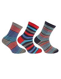 Childrens Boys Cotton Rich Assorted Stripe Design Socks (Pack Of 3)