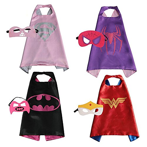 Set of 4 Classic Comics Superhero Costumes Cape and Matching Mask for Kids (Super Hero Costume Idea)