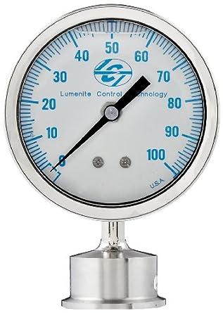 "Lumenite LSPG-LM-F-C1-1/2""-100PSI Glycerine Filled Sanitary Pressure Gauge, Lower Mount, 0-100 psi, Analog Display, +/- 1% Accuracy, 1-1/2"" Tri-clamp"