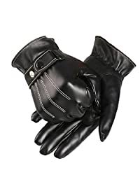 Doinshop Mens Luxurious PU Leather Winter Driving Warm Simple Cool Gloves Cashmere (Black)