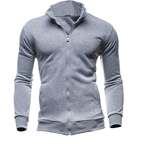 Mysky Fashion Men Leisure Stand Collar Zipper Sweatshirts Sports Jacket Men Brief Solid Color Coat Gray
