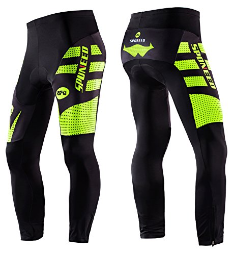 sponeed Men's Cycle Shorts Tights Long Pants Athletic Cycling Outdoor Sports Asia XL/US L Green