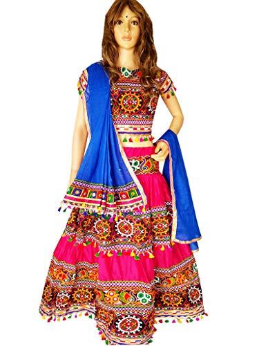 Nanda Women Rayon Navratri Chaniya Choli-Rajasthani Lehenga-Kutch Embroidered Garba Dandiya Costume Pink Free Size ()