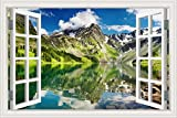 GreatHomeArt Peel and Stick 3d Wall Decal Sticker Mountain Lake Scenery Window View Home Décor Art Removable Wall Murals for Kitchen Wallpaper Adhesive -24x36 inches