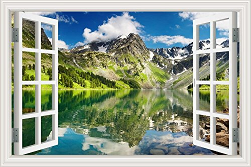 GreatHomeArt Peel and Stick 3D Wall Decal Sticker Mountain Lake Scenery Window View Home Décor Art Removable Wall Murals for Kitchen Wallpaper Adhesive -24x36 inches ()