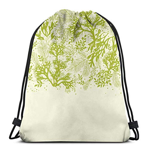 Printed Drawstring Backpacks Bags,Underwater Plants Theme With Abstract Seaweed Corals Oceanic Nature Print,Adjustable String Closure