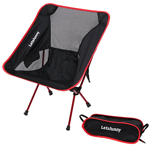 LetsFunny Ultralight Portable Foldable Camping Backpacking Chairs with Carry Bag, Lightweight Breathable and Comfortable Folding Picnic Chair,Perfect for Hiking/Fishing/the Park/Sports (Red)