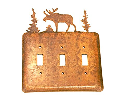 Moose Electric Tripple Toggle Metal Rusted Rustic Wall Plate Cover aprox 6.50