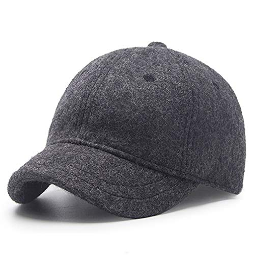 (Winter Hat,Wool Felt Autumn Winter Hat Solid Color Short Soft Brim Lightweight Day Beret Hats Breathable Tweed Baseball Cap Elastic Sport Caps for Ladies Men Woman Outdoor Under 20 Warm Dark Drey)