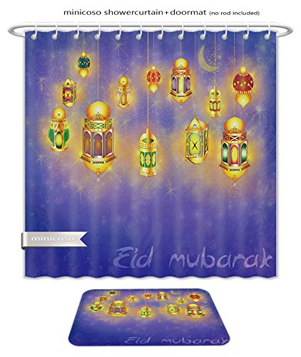 Minicoso Bath Two Piece Suit: Shower Curtains and Bath Rugs Islamic Muslim Holiday Blessing Background Or Greeting Card With Oriental Lamps And Lanterns Shower Curtain and Doormat (Oriental Sisal Rug)