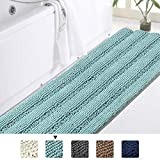 Turquoize Oversize Non-Slip Bathroom Rug Shag Shower Mat Soft Thick Floor Mat Machine-Washable Bath Mats Extra Soft and Absorbent Dog Mat Ultra Soft Thick Bathroom Area Rugs-Duck Egg Blue