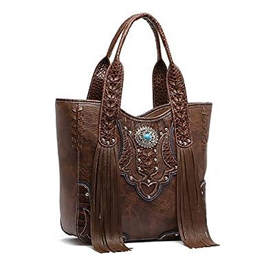 Western Handbag - Classic Concho Embossed Concealed Carry Shoulder Bag with Fringe