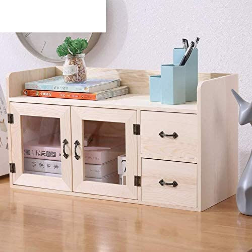 YYANG Rustikales Holz 2-Schubladen-Dokumenten-Organizer Doppeltür-Desktop-Organizer Caddy-Aufbewahrungsbox Mit 2 Schubladen,B