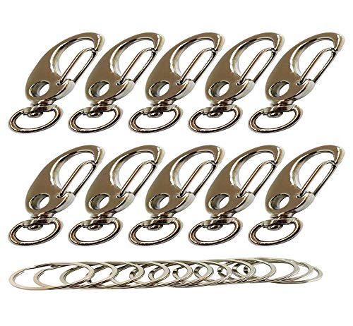 Bytiyar 10 PCS Metal Small Swivel Snap Hook Clips with Fixed Eye-Hole,Egg Shape Spring Clasps Carabiners Quick Link Shackle of Pet Clips or Paracord Clips