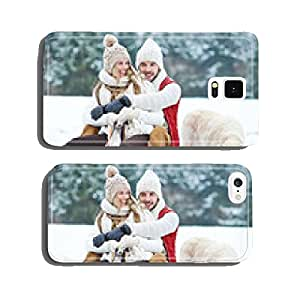 Couple with dog sledging in winter cell phone cover case Samsung S5