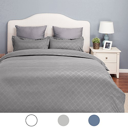 King Duvet Cover Set Grey with Zipper Closure-Hotel Luxury D