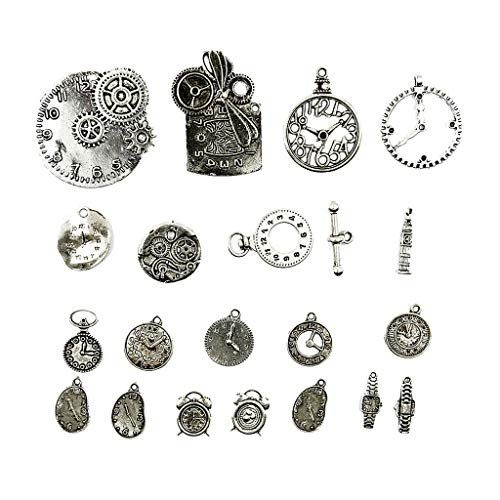 (20x Steampunk Charms Alloy Gear Clock Watch Pendant Charms Jewelry Findings Necklace Jewelry Crafting Key Chain Bracelet Pendants Accessories Best)