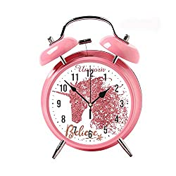 ZEREO 5 Colors Child Portable Cute Round Battery Alarm Clock Desktop Table Bedside Clocks Decor Pink Alarm Clock Gift Unicorn