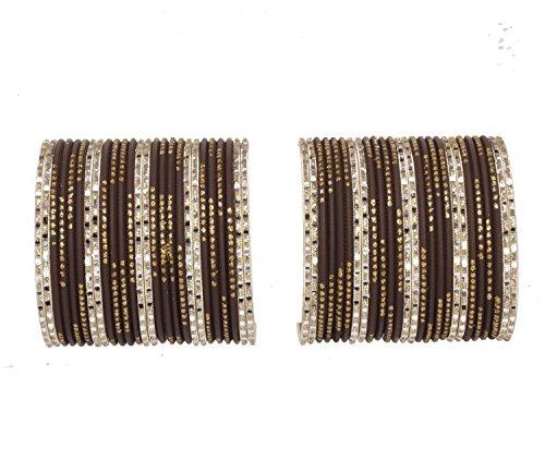 Sanara Indian Designer Plain Multi Neon Metal Bangle Bracelet Set Costume Bollywood Jewelry (Brown, (Bollywood Costumes Images)