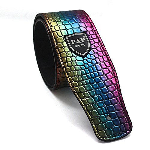 Rainbow Guitar Strap Leather Embossed Snake Pu Adjustable Ac