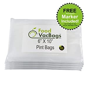 "200 FoodVacBags 6"" X 10"" Vacuum Sealer 4 mil Food Storage Bags for Foodsaver"