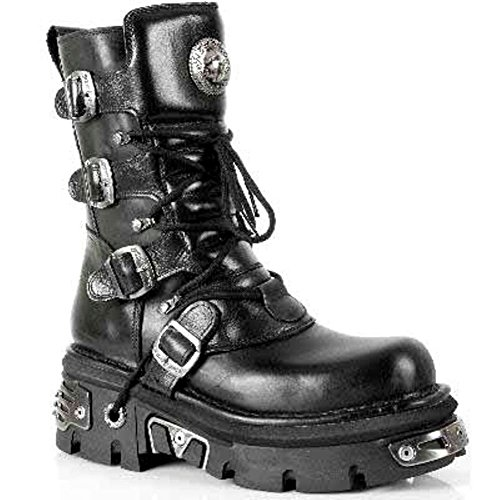 New Rock NEWROCK 373 S4 Metallic High Boots Black Leather Goth Biker Emo Black 5Yp1oqF6m